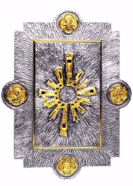 Immagine di Tabernacolo da incasso a muro cm 55x42 (21,7x16,5 inch) Raggi di Luce Quattro Evangelisti ottone Porta bicolore Oro Argento Ciborio da parete