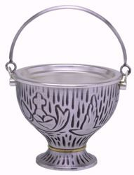 Picture of Holy Water Vat H. cm 11 (4,3 inch) Grapes Loaves Fishes in brass Gold Silver blessed water Liturgical Aspersorium Bucket Pot