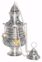 Picture of Thurible Boat Shell Decorations Gold Angels in chiseled brass Gold Silver Church liturgical Censer for Mass