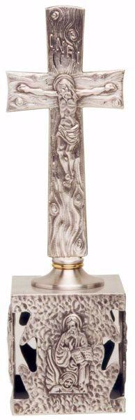 Immagine di Crocefisso da Mensa H. cm 36 (14,2 inch) Quattro Evangelisti in ottone Oro Argento Croce da Altare per Chiesa