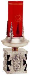 Immagine di Lampada da Altare Santissimo Sacramento H. cm 18 (7,1 inch) Evangelisti ottone Oro Argento Portalampada da Mensa porta cero Chiesa