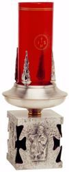 Imagen de Lámpara de Altar Santísimo Sacramento H. cm 18 (7,1 inch) Cuatro Evangelistas latón Oro Plata porta vela litúrgica de Altar Iglesia