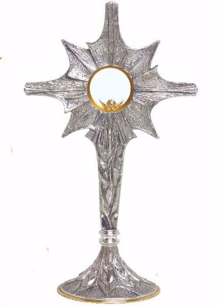 Picture of Church Monstrance with lunette H. cm 52 (20,5 inch) stylized Rays of Light brass Gold Silver Ostensorium for Blessed Sacrament Exposition