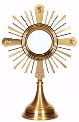 Picture of Church Monstrance Exposition for Magna Host cm 15 (5,9 in) H. cm 56 (22.0 inch) smooth satin finish Evangelists Rays of Light in brass Gold Silver