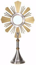 Picture of Church Monstrance Exposition for Magna Host cm 15 (5,9 in) H. cm 76 (29,9 inch) double Knot Angel and Rays of Light in brass Gold Silver
