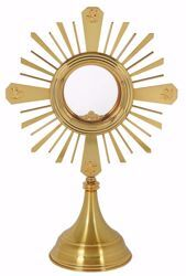 Picture of Eucharistic Monstrance Shrine with Lunette Magna Host cm 12,5 (4,9 in) cm 56x36 (22.0x14,2 inch) smooth satin Evangelists Rays of Light brass Gold Silver