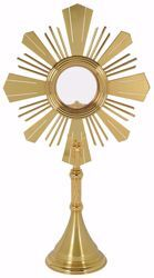 Picture of Large Monstrance Shrine with Lunette Magna Host cm 12,5 (4,9 in) cm 76x41 (29,9x16,1 inch) smooth satin Angel Rays of Light brass Gold Silver for Blessed Sacrament