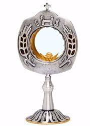 Immagine di Teca Eucaristica Ostensorio con lunetta con smalto H. cm 27 (10,6 inch) Spighe stilizzate IHS ottone Oro Argento Santissimo Sacramento