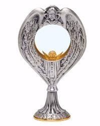 Immagine di Teca Eucaristica Ostensorio con lunetta H. cm 23 (9,1 inch) Gesù in ottone Oro Argento per esposizione Santissimo Sacramento Chiesa