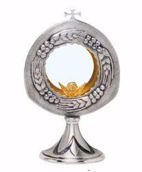 Immagine di Teca Eucaristica Ostensorio con lunetta H. cm 23 (9,1 inch) Spighe di Grano Uva in ottone Oro Argento per Santissimo Sacramento