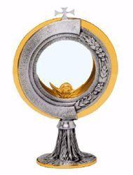 Immagine di Teca Eucaristica Ostensorio con lunetta H. cm 20 (7,9 inch) Spighe di Grano Uva in ottone Oro Argento per Santissimo Sacramento