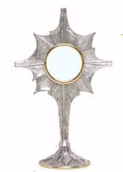 Picture of Eucharistic Shrine Monstrance Diam. cm 8 (3,1 inch) stylized Rays of Light in brass Gold Silver Ostensorium for Blessed Sacrament