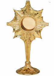 Picture of Liturgical Reliquary H. cm 31 (12,2 inch) stylized Rays of Light in brass Gold Silver custody for Church Sacred Relics