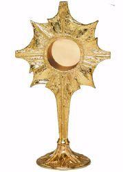Immagine di Reliquiario liturgico H. cm 31 (12,2 inch) Raggi di luce stilizzati in ottone Oro Argento Custodia per Reliquie Sacre Chiesa