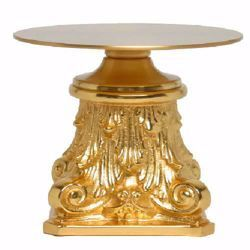 Picture of Altar Throne Base for Monstrance H. cm 10 (3,9 inch) Baroque style with Leaves in brass Gold Silver