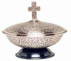 Picture of Portable Baptismal Font for Churches Diam. cm 43 (16,9 inch) Cross Dove Holy Spirit hammered brass Gold Silver Altar Basin Bowl for Baptism