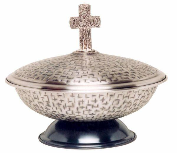 Immagine di Fonte battesimale portatile da mensa Diam. cm 43 (16,9 inch) Croce Colomba Spirito Santo ottone martellato Oro Argento da Chiesa Battesimo