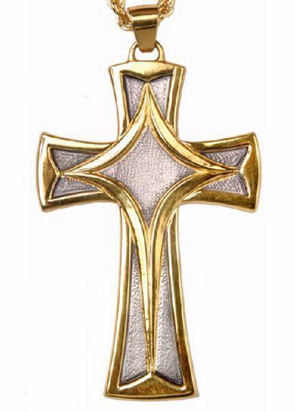 Immagine di Croce pettorale episcopale cm 10x6 (3,9x2,4 inch) Croce stilizzata in ottone Oro Argento Bicolor Croce vescovile