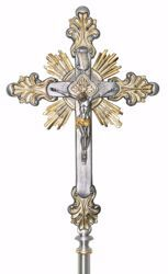 Picture of Processional Cross cm 45x30 (17,7x11,8 inch) Baroque Style Rays of Light Holy Spirit in brass Gold Silver Bicolor Crucifix for Church Procession