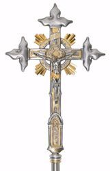 Picture of Processional Cross cm 45x30 (17,7x11,8 inch) Crucifix with Cloverleaf Tips Tabernacle Rays in brass Gold Silver Bicolor Crucifix for Church Procession