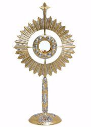 Picture of Church Monstrance with lunette H. cm 70 (27,6 inch) Grapes Ears of Wheat Angels Rays of Light brass Gold Silver Bicolor for Blessed Sacrament