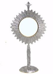 Picture of Eucharistic Monstrance Shrine Magna Host H. cm 70 (27,6 inch) Grapes Ears of Wheat Angels Rays of Light brass Gold Silver Bicolor