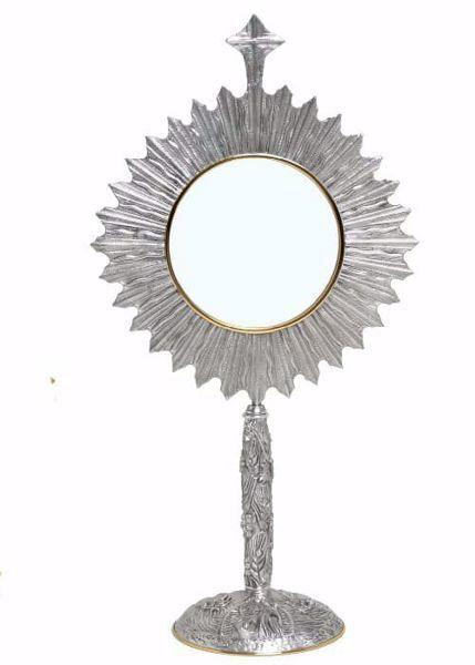 Immagine di Ostensorio Teca esposizione Ostia Magna H. cm 70 (27,6 inch) Uva Spighe Angeli Raggiera in ottone Oro Argento Bicolor