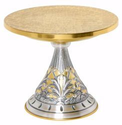 Picture of Altar Throne Base for Monstrance H. cm 23 (9,1 inch) floral decorations in brass with chiseled base Gold Silver Bicolor