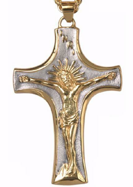 Imagen de Cruz pectoral episcopal cm 10x6 (3,9x2,4 inch) Jesús crucificado de latón Oro Plata Bicolor Cruz para Obispo