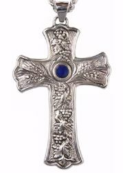 Picture of Episcopal pectoral Cross cm 10x6 (3,9x2,4 inch) Grapes Lapis Lazuli in brass Gold Silver Bicolor Bishop's Cross