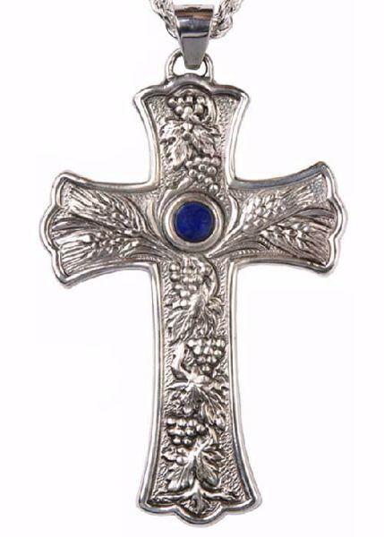 Imagen de Cruz pectoral episcopal cm 10x6 (3,9x2,4 inch) Ramas de Uva Lapislázuli de latón Oro Plata Bicolor Cruz para Obispo