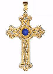 Picture of Episcopal pectoral Cross cm 10x6 (3,9x2,4 inch) Crown of Thorns Lapis Lazuli in brass Gold Silver Bicolor Bishop's Cross