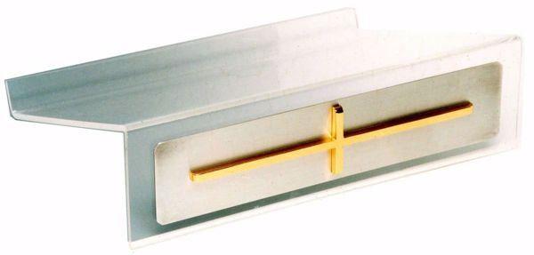 Immagine di Leggio portatile da Altare Chiesa cm 35x27x10 (13,8x10,6x3,9 inch) Croce Oro in plexiglas Bicolor da mensa per Bibbia Messale Testi Sacri