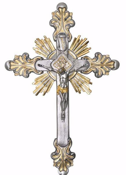 Picture of Wall mounted Crucifix cm 30x45 (11,8x17,7 inch) Baroque Style Rays of Light Holy Spirit in brass Gold Silver Bicolor Cross for Churches