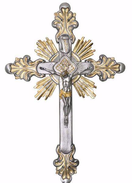 Imagen de Crucifijo de muro cm 30x45 (11,8x17,7 inch) estilo barroco Rayos de Luz Espíritu Santo de latón Oro Plata Bicolor Cruz de pared Iglesia