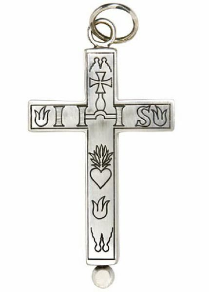 Picture of Pectoral cross with relics holder cm 5x9 (2,0x3,5 inch) Symbols of the Passion in 800/1000 Silver Gold Silver for Bishops