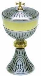 Imagen de Copón litúrgico Ciborio H. cm 20,5 (8,1 inch) Santo Rostro de Jesús de latón Oro Plata