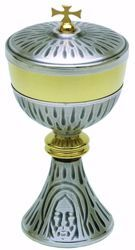 Picture of Liturgical Ciborium H. cm 23 (9,1 inch) Holy Face of Jesus in brass Gold Silver