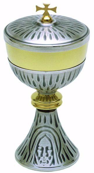 Imagen de Copón litúrgico Ciborio H. cm 23 (9,1 inch) Santo Rostro de Jesús de latón Oro Plata