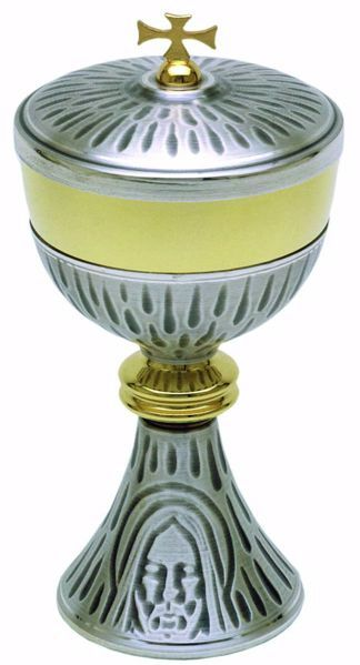 Picture of Liturgical Ciborium H. cm 24 (9,4 inch) Holy Face of Jesus in brass Gold Silver