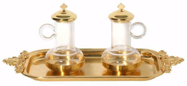 Immagine di Set completo vassoio Ampolle vino acqua Santa Messa Vassoio rettangolare ottone Oro Argento Ampolline liturgiche Altare