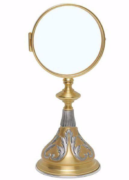Imagen de Ostensorio Custodia para Hostia Magna cm 15 (5,9 in) anillo extraíble H. cm 28 (11,0 inch) Decoraciones florales de latón Oro Plata Bicolor