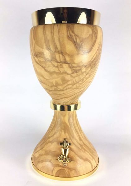 Picture of Eucharistic Chalice H. cm 20 (7,9 inch) Chalice Host and Olive Branches in Olive Wood of Assisi