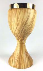 Picture of Eucharistic Chalice H. cm 20 (7,9 inch) central Knot in Olive Wood of Assisi