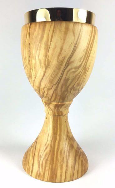 Imagen de Cáliz litúrgico H. cm 20 (7,9 inch) Nudo central de Madera de Olivo de Asís