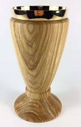 Picture of Small Eucharistic Chalice H. cm 15 (5,9 inch) low Knot in Olive Wood of Assisi
