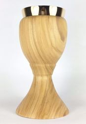 Picture of Small Eucharistic Chalice H. cm 15 (5,9 inch) central Knot in Olive Wood of Assisi