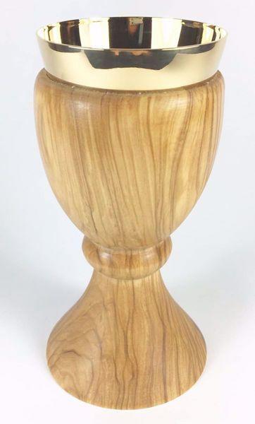Immagine di Calice eucaristico piccolo H. cm 15 (5,9 inch) Nodo centrale in Legno di Ulivo di Assisi