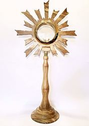 Picture of Church Monstrance for Magna Hosts H. cm 75 (29,5 inch) Rays of Light in Olive Wood of Assisi