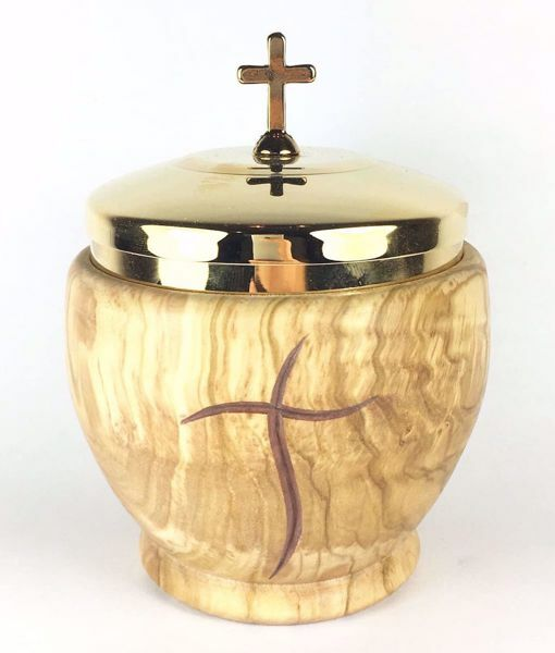 Picture of Low Liturgical Ciborium H. cm 11 (4,3 inch) Stylized Cross in Olive Wood of Assisi